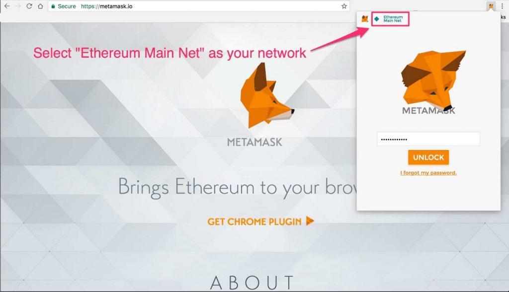 """Passaggio 2: seleziona """"Ethereum Main Net"""" come rete"""